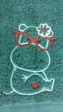 Happy hippo. Machine embroidered face washer  gift. Teacher, baby, child gift
