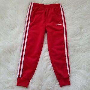 Adidas Kids sz 5 Joggers Track Pants Boys Girls Sweatpants 3 Stripe Red