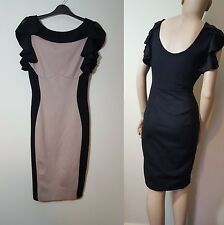 🦄Ted Baker Size 2 UK 10 12 Bodycon Black Nude Beige Cream Wiggle Low Back Dress