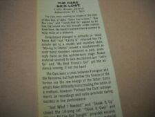 The Cars and Nick Lowe at Cobo Areana, Detroit 1982 music biz promo show review