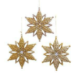Set of 3 Gold and Platinum Snowflake Ornaments w