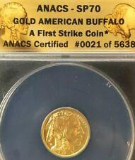 2008 W 1/10th oz .9999 GOLD $5 BUFFALO ANACS-SP70 FIRST STRIKE #0021 of 5638
