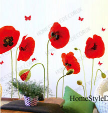 Vibrant Poppy Flowers Wall Stickers Art Decal Mural Wallpaper Floral Home Decor