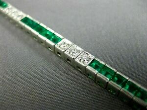 Pretty 8.00Ct Princess Cut Diamond & Emerald 14K White Gold Over Tennis Bracelet