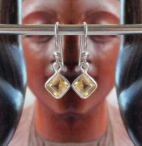 315g Citrine Solid 925 Sterling Silver Diamond Faceted Gemstone Earrings rrp$36