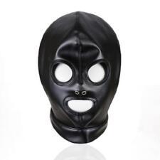 Quality Soft PU Leather Breathable Open Mouth Eyes Mask Hood Bondage Fetish