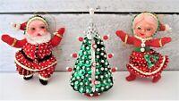 3 Vintage Handmade Beaded Sequin Flocked Christmas Ornaments Tree Santa Mrs