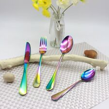 Stainless Steel Cutlery Sets Rainbow Colourful Iridescent Forks 8/16/24/32pc Set
