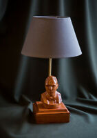 "Handmade desk lamp ""James Bond 007"" a carved rare wood"
