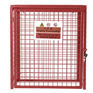 Galvanised Steel Collapsible Gas Bottle Cylinder Storage Mesh Security Cage Lock