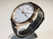 BUREI Stainless Steel Men's Watch Brown Leather Strap Rose Gold Hands. NEW. GIFT