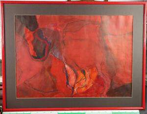 Schwind Gemälde von 1974 Synapse Komposition rot Grossformat abstrakt Österreich