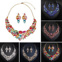 Indian Women Jewelry Set Crystal Necklace Earring Set Bridal Wedding Party Gifts