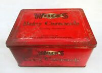 Vintage Old Rare Welch's Dairy Caramels Ad Litho Tin Box England Collectible Tin