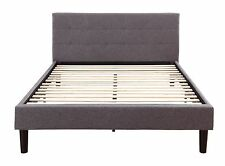 Grey Linen Fabric Upholstered Platform Bed with Wooden Slats, Full