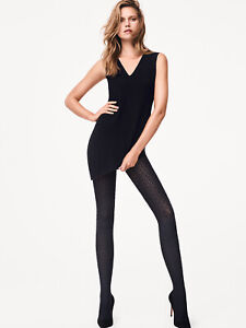 WOLFORD Kaleido Opaque Tights Size S 3D Effect Rhombus Pattern Branded Waistband