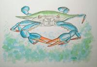 Florida Original Art Watercolor Painting Blue Crab Ocean Beach Fish Seaside