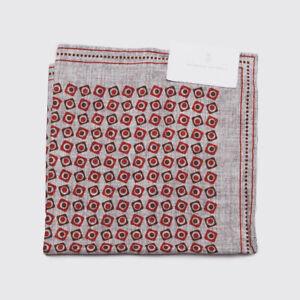 Brunello Cucinelli Pocket Square Light Gray Red Print Silk
