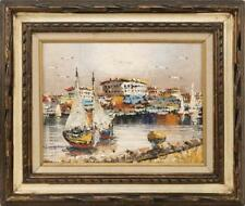 """AMERICAN SCHOOL, 20th Century, Ships in a harbor., Oil on canvas, 12""""... Lot 242"""