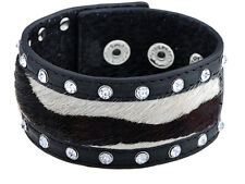 Black Color Moo Hair Literal Faux Leather Crystal Rhinestone Element Bracelet