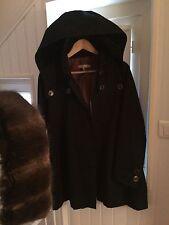 Manteau style Trench-coat SANDRO taille 36 S 1 bleu avec fourrure au col NEUF