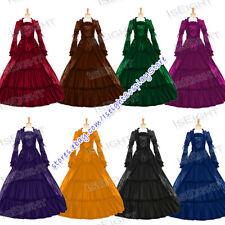 Girl Victorian Gothic Punk Lolita Reenactment Ruffles Velvet Long Sleeves Dress