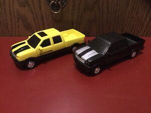 ERTL John Deere Ford Yellow And Black Plastic Pickup Trucks Lot Of 2 Exc. Cond.