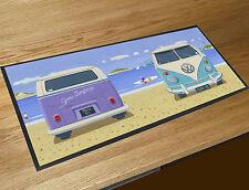 Martin Wiscombe Campers vans on the beach bar runner home bar counter mat