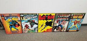 "Silver Buffalo Marvel DC Comics 13"" x 19"" Wooden Wall Art Bundle Lot Of 5"