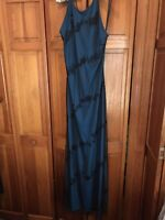 Reggio Prom Evening Gown Dress Size 14 Blue Black Sheer Beading
