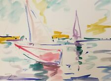 "JOSE TRUJILLO ORIGINAL Watercolor Painting American Fauvist 9X12"" ARTIST Boats"