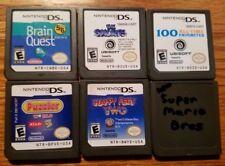 SIX Nintendo DS GAMES New Super Mario Bros Puzzler Brain Quest Smurfs Happy Feet