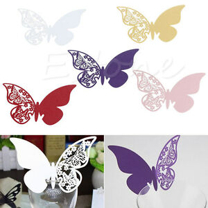 50Pcs Butterfly Wedding Name Place Cards For Wine Glass Table Decor