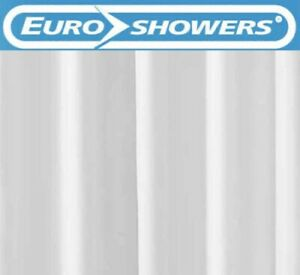 EuroShowers Simple White Shower Curtain with Weighted Hem 180cm x 200cm