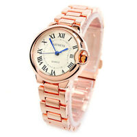 New Rose Gold Small Case Classic Analog Roman Dial Geneva Women's Watch