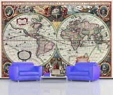 ANTIQUE WORLD MAP 16th CENTURY GLOBE MAP Photo Wallpaper Wall Mural  335x236cm