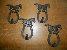 Set/4 Rustic Horse Stallion & Horse Shoe Coat Hat Towel Wall Hooks Cast Iron
