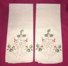 Vintage 2 Cotton Hand Towels embroidered Christmas Poinsettia and cutwork Unused