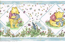 Classic Winnie The Pooh Bear Butterfly Baby Blue Nursery Kid Wall paper Border