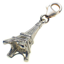 Eiffel Tower Paris, Sterling 925 Silver Lobster Clip Charm by Welded Bliss
