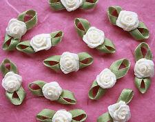 100! ruban satin roses avec feuilles-lovely crème pâle rose embellissements!