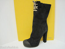NIB FENDI DUCK Suede Platform Boots Mid Calf Shoes 38.5