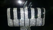 """""""NEW"""" PIANO PATTERN HANDMADE CLEAR CRYSTALS CASE EVENING PURSE PROM BAG"""