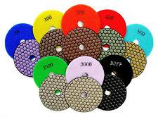 "4"" Dry Diamond Polishing Pads for Granite Marble Stone - 8pcs Set"
