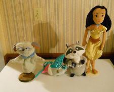 "Disney plush Princess Doll Pocahontas doll 20"" & Meeko,  Flit, &  Percy Lot of 4"