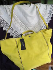 gorgeous 100% leather Italian GIUDIT LARGE yellow studded TOTE BAG + strap bnwt