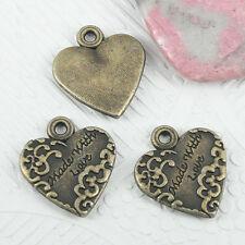 8pcs antiqued bronze color pattern heart Love design charms EF0901