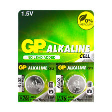 2 x GP alcaline A76 LR44 Piles 1.5V AG13 303 357 V13GA L1154 SR44 exp: 2019