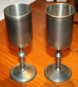 Vintage set of 2 Wineglass Tinn Pewter - Sweden T.K. tenn Q9 1960*