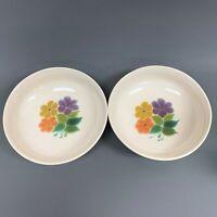 "Franciscan Vegetable Bowls Floral Purple Orange Yellow Flowers 9 3/8"" Lot of 2"